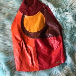 Tops - Leather and wool top size XS